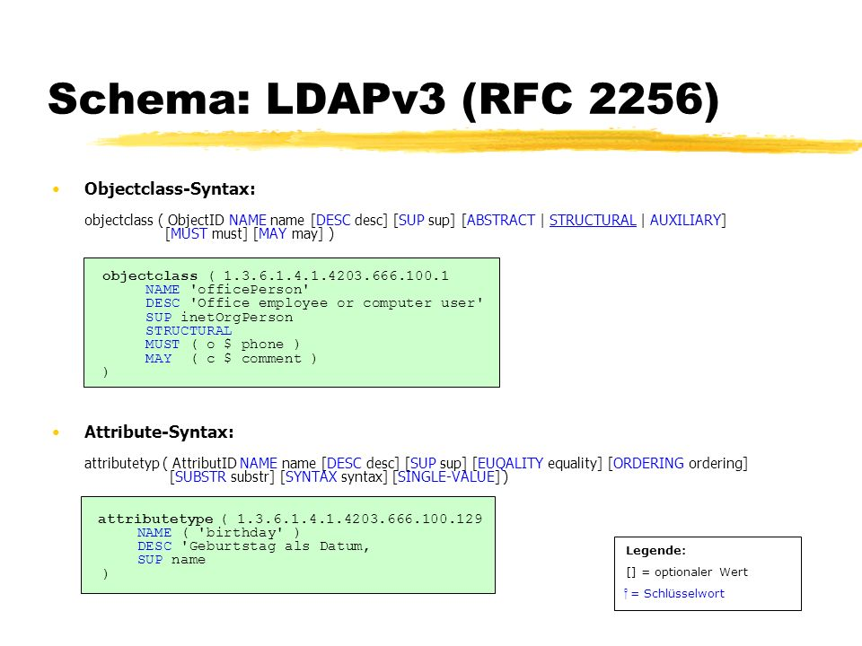 Schema: LDAPv3 (RFC 2256) Objectclass-Syntax: objectclass ( ObjectID NAME name [DESC desc] [SUP sup] [ABSTRACT | STRUCTURAL | AUXILIARY] [MUST must] [MAY may] ) objectclass ( 1.3.6.1.4.1.4203.666.100.1 NAME officePerson DESC Office employee or computer user SUP inetOrgPerson STRUCTURAL MUST ( o $ phone ) MAY ( c $ comment ) ) Attribute-Syntax: attributetyp ( AttributID NAME name [DESC desc] [SUP sup] [EUQALITY equality] [ORDERING ordering] [SUBSTR substr] [SYNTAX syntax] [SINGLE-VALUE] ) attributetype ( 1.3.6.1.4.1.4203.666.100.129 NAME ( birthday ) DESC Geburtstag als Datum SUP name ) Legende: [] = optionaler Wert = Schlüsselwort