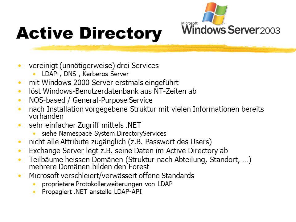 Active Directory vereinigt (unnötigerweise) drei Services LDAP-, DNS-, Kerberos-Server mit Windows 2000 Server erstmals eingeführt löst Windows-Benutz