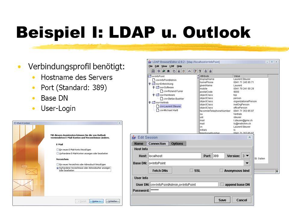 Beispiel I: LDAP u. Outlook Verbindungsprofil benötigt: Hostname des Servers Port (Standard: 389) Base DN User-Login