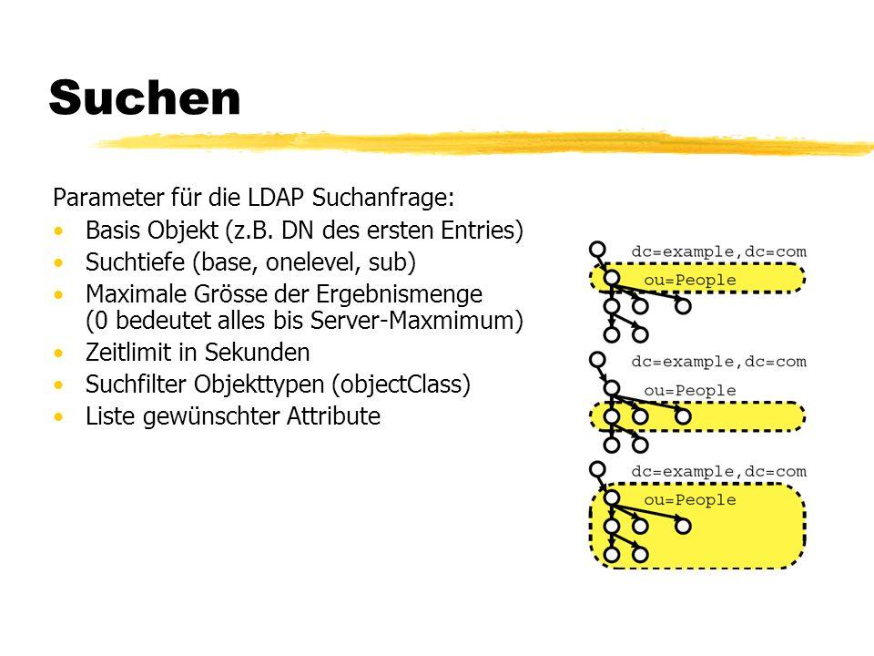 Suchen Parameter für die LDAP Suchanfrage: Basis Objekt (z.B. DN des ersten Entries) Suchtiefe (base, onelevel, sub) Maximale Grösse der Ergebnismenge