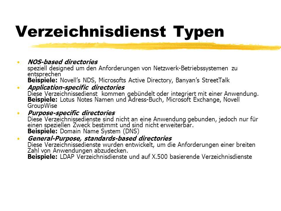Verzeichnisdienst Typen NOS-based directories speziell designed um den Anforderungen von Netzwerk-Betriebssystemen zu entsprechen Beispiele: Novells N