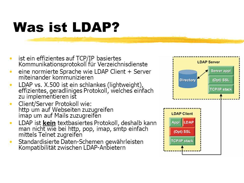 Was ist LDAP? ist ein effizientes auf TCP/IP basiertes Kommunikationsprotokoll für Verzeichnisdienste eine normierte Sprache wie LDAP Client + Server