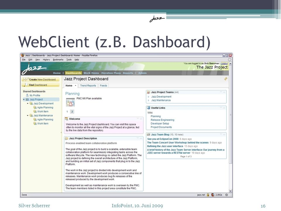 WebClient (z.B. Dashboard) 16 Silver Scherrer InfoPoint, 10. Juni 2009