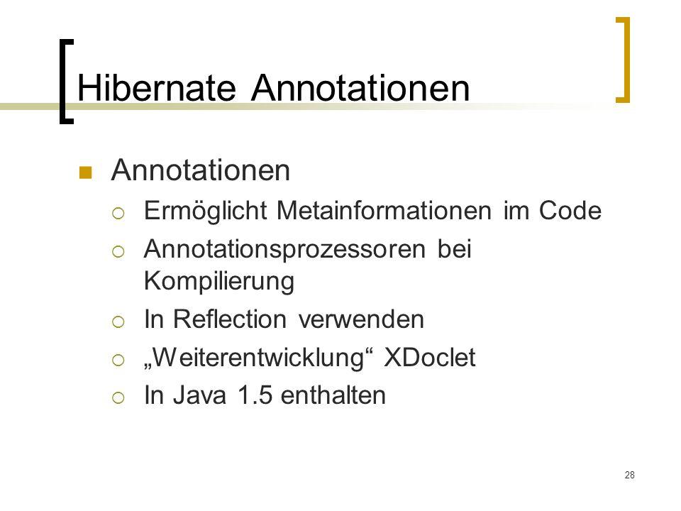 28 Hibernate Annotationen Annotationen Ermöglicht Metainformationen im Code Annotationsprozessoren bei Kompilierung In Reflection verwenden Weiterentw