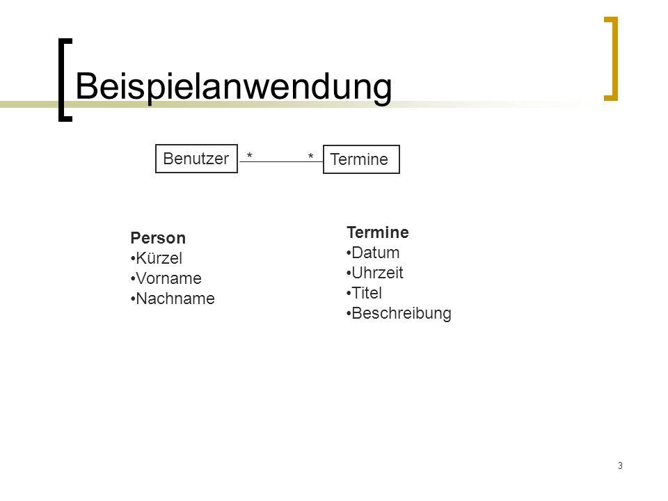 3 Beispielanwendung Benutzer Termine * Person Kürzel Vorname Nachname Termine Datum Uhrzeit Titel Beschreibung *