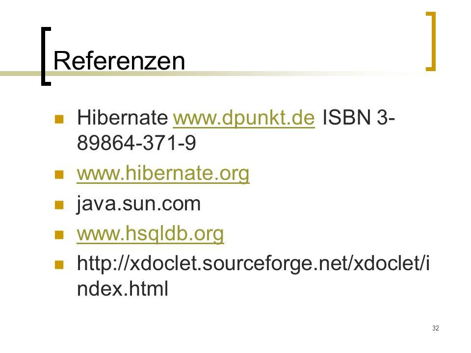32 Referenzen Hibernate www.dpunkt.de ISBN 3- 89864-371-9www.dpunkt.de www.hibernate.org java.sun.com www.hsqldb.org http://xdoclet.sourceforge.net/xd