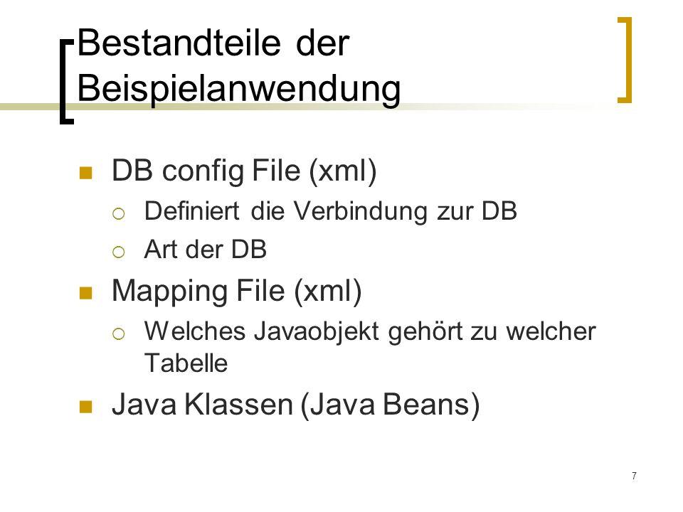 7 Bestandteile der Beispielanwendung DB config File (xml) Definiert die Verbindung zur DB Art der DB Mapping File (xml) Welches Javaobjekt gehört zu w