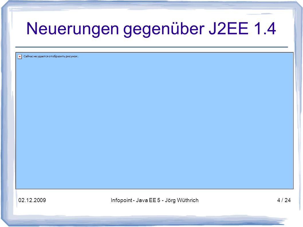 02.12.2009Infopoint - Java EE 5 - Jörg Wüthrich5 / 24 Neuerungen gegenüber J2EE 1.4 Vereinfachungen des Java EE Programmier- Modells EJB 3.0 mit POJOs JPA: Erneuerung des Objekt-relationalen Mappings (Ablösung der EJB CMP) Web-Services: Vereinfachungen mit JAX-WS und JAXB 2.0 JSF / JSTL: Vereinfachte Web UI Entwicklung Annotationen ersetzen auf Wunsch die meisten Deployment Deskriptoren Streaming API für XML (StAX)