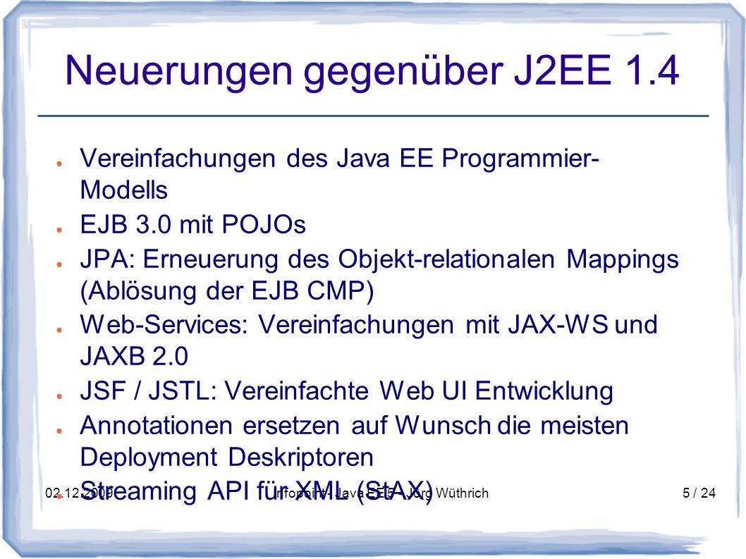 02.12.2009Infopoint - Java EE 5 - Jörg Wüthrich26 / 24 Webservice - WSDL Eine WSDL-Datei enthält folgende Informationen: – types Definition der Datentypen (meist XML-Schema) – message definiert Datenelemente der Operationen – porttype Beschreibt die vorhandenen Operationen und verwendeten Messages (Java: Interface) – binding definiert das Nachrichtenformat und Protokoll-Details für jeden Porttype