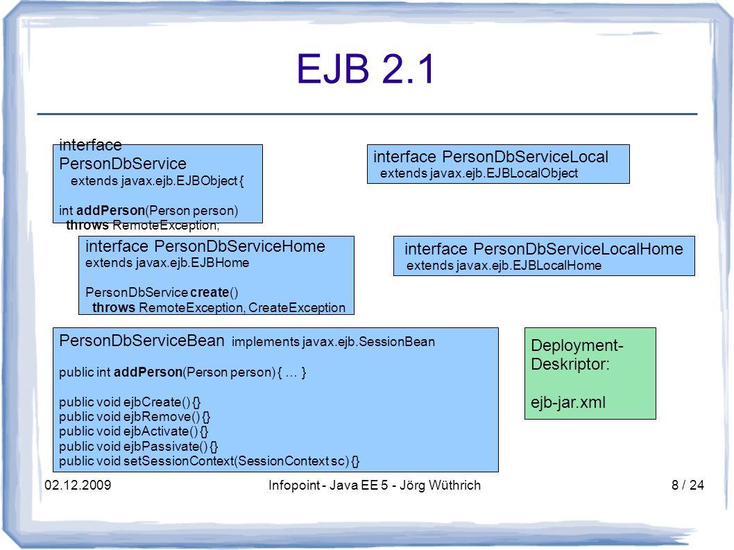 02.12.2009Infopoint - Java EE 5 - Jörg Wüthrich19 / 24 Persistenz Java EE 5 JPA (Java Persistence API) – inspiriert von Hibernate – Entities sind keine Beans mehr, sondern annotierte Klassen – Persistenz-Kontext verwaltet Transaktionen Kontext kann vom Container oder der Applikation verwaltet werden – Entities können detached werden vom Persistenz- Kontext Verwendung in einem EJB-Interface kein Problem – verwendet JPA QL für Abfragen