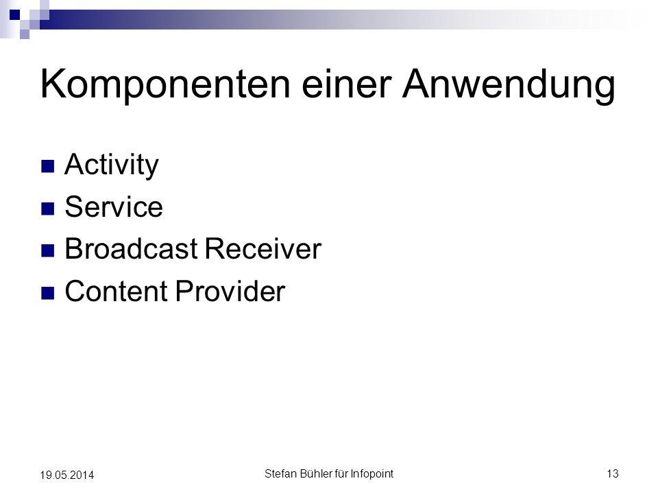 Komponenten einer Anwendung Activity Service Broadcast Receiver Content Provider Stefan Bühler für Infopoint13 19.05.2014
