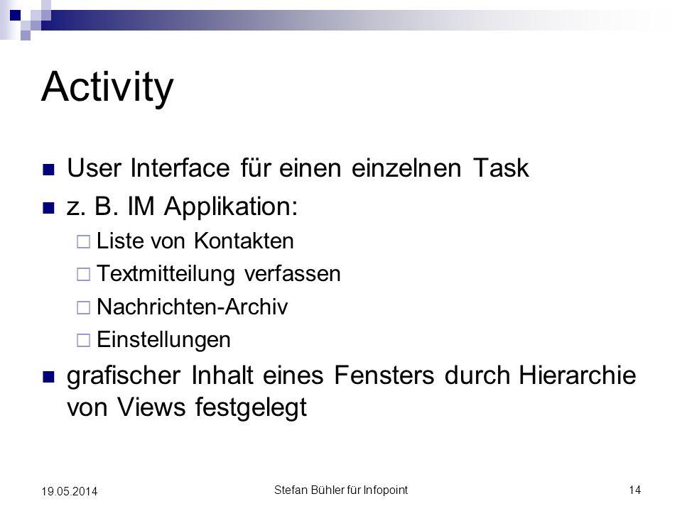 Activity User Interface für einen einzelnen Task z. B. IM Applikation: Liste von Kontakten Textmitteilung verfassen Nachrichten-Archiv Einstellungen g