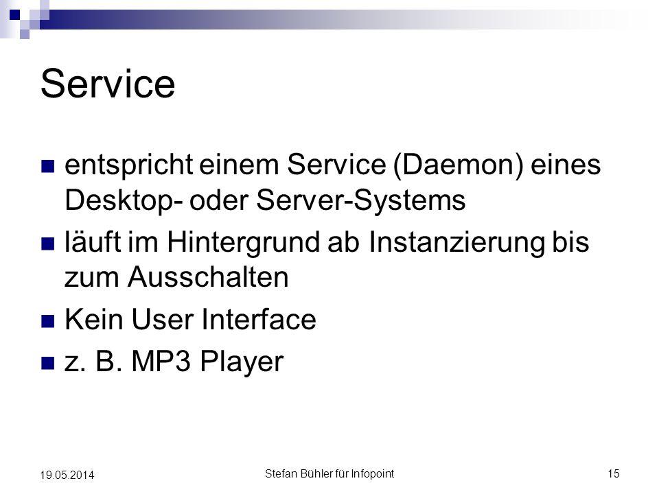 Service entspricht einem Service (Daemon) eines Desktop- oder Server-Systems läuft im Hintergrund ab Instanzierung bis zum Ausschalten Kein User Inter