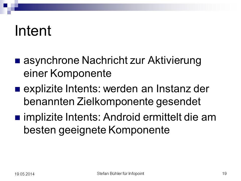 Intent asynchrone Nachricht zur Aktivierung einer Komponente explizite Intents: werden an Instanz der benannten Zielkomponente gesendet implizite Inte