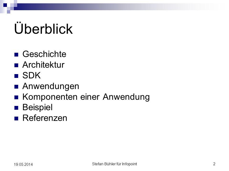 Stefan Bühler für Infopoint2 19.05.2014 Überblick Geschichte Architektur SDK Anwendungen Komponenten einer Anwendung Beispiel Referenzen