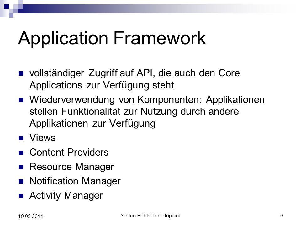 Application Framework vollständiger Zugriff auf API, die auch den Core Applications zur Verfügung steht Wiederverwendung von Komponenten: Applikatione
