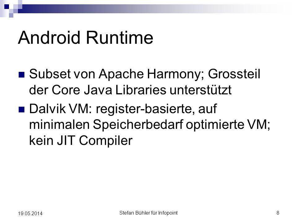 Android Runtime Subset von Apache Harmony; Grossteil der Core Java Libraries unterstützt Dalvik VM: register-basierte, auf minimalen Speicherbedarf op