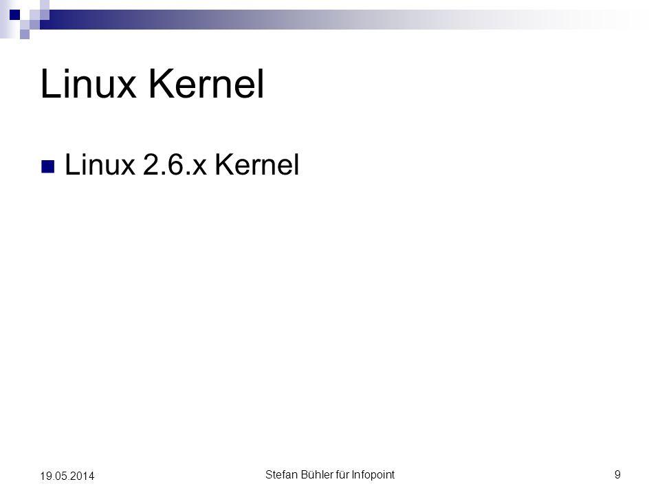 SDK http://developer.android.com aktuell 1.6 R1 Development Tools Eclipse Plugin Emulator, Debugger, … Android Plattformen Beispielcode Dokumentation Stefan Bühler für Infopoint10 19.05.2014