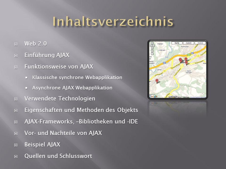 Web 2.0 Web 2.0 Einführung AJAX Einführung AJAX Funktionsweise von AJAX Funktionsweise von AJAX Klassische synchrone Webapplikation Klassische synchro