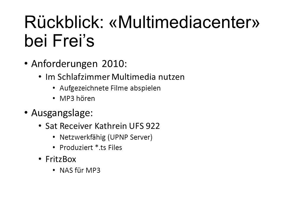 Rückblick: «Multimediacenter» bei Freis Anforderungen 2010: Im Schlafzimmer Multimedia nutzen Aufgezeichnete Filme abspielen MP3 hören Ausgangslage: S