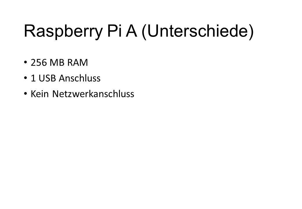 Raspberry Pi A (Unterschiede) 256 MB RAM 1 USB Anschluss Kein Netzwerkanschluss