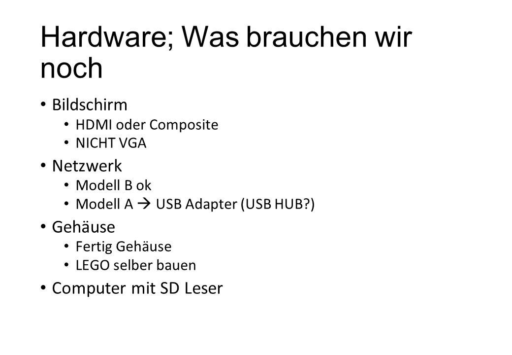 Hardware; Was brauchen wir noch Bildschirm HDMI oder Composite NICHT VGA Netzwerk Modell B ok Modell A USB Adapter (USB HUB?) Gehäuse Fertig Gehäuse L