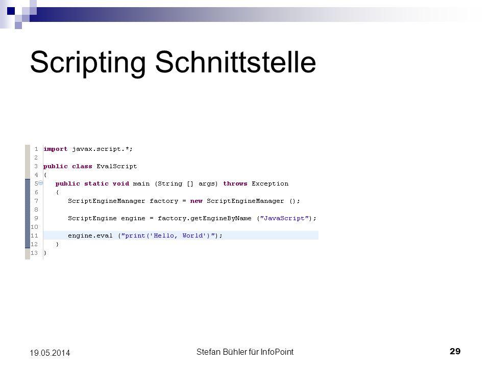 Stefan Bühler für InfoPoint 29 19.05.2014 Scripting Schnittstelle
