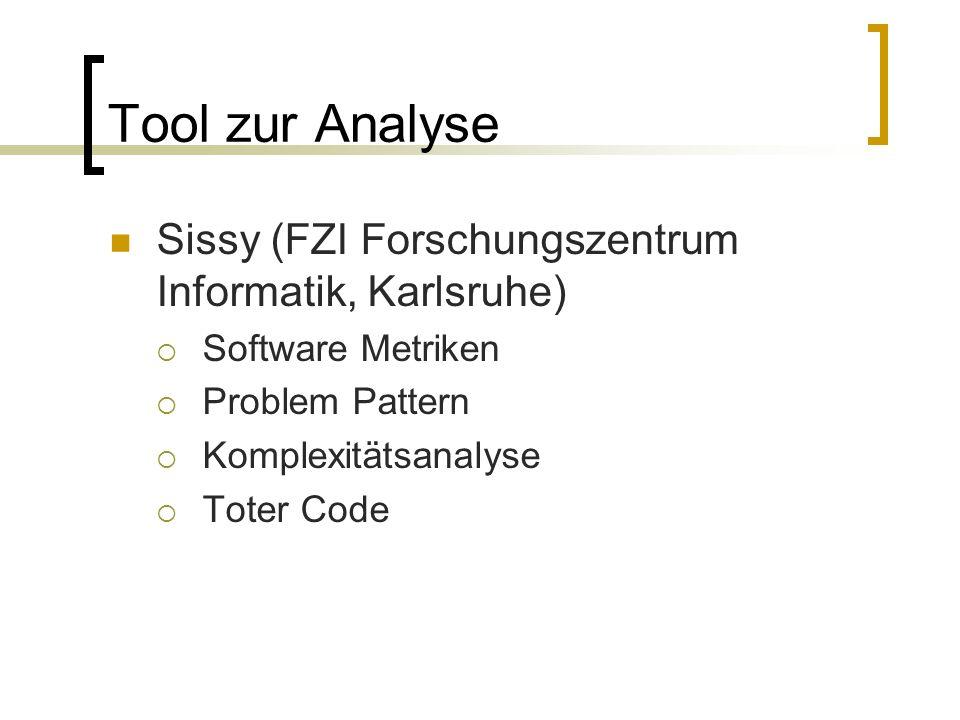 Tool zur Analyse Sissy (FZI Forschungszentrum Informatik, Karlsruhe) Software Metriken Problem Pattern Komplexitätsanalyse Toter Code