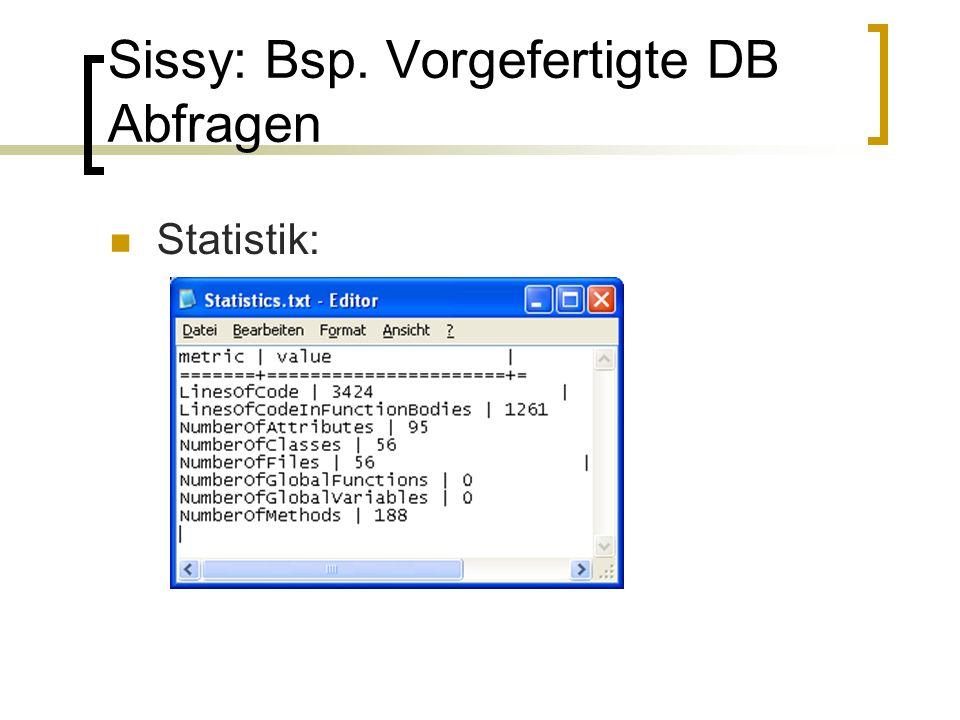 Sissy: Bsp. Vorgefertigte DB Abfragen Statistik: