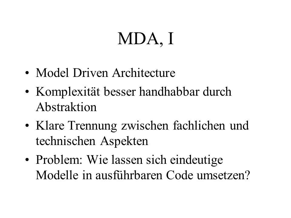 MDA, I Model Driven Architecture Komplexität besser handhabbar durch Abstraktion Klare Trennung zwischen fachlichen und technischen Aspekten Problem: Wie lassen sich eindeutige Modelle in ausführbaren Code umsetzen?