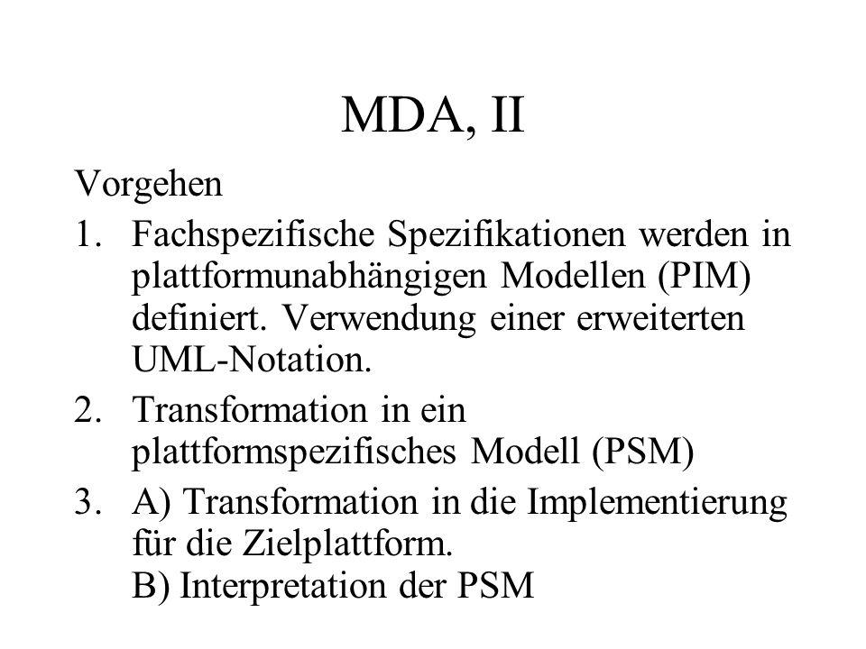 MDA, II Vorgehen 1.Fachspezifische Spezifikationen werden in plattformunabhängigen Modellen (PIM) definiert. Verwendung einer erweiterten UML-Notation
