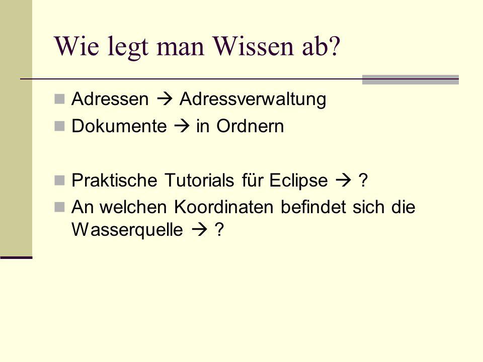 Wie legt man Wissen ab? Adressen Adressverwaltung Dokumente in Ordnern Praktische Tutorials für Eclipse ? An welchen Koordinaten befindet sich die Was