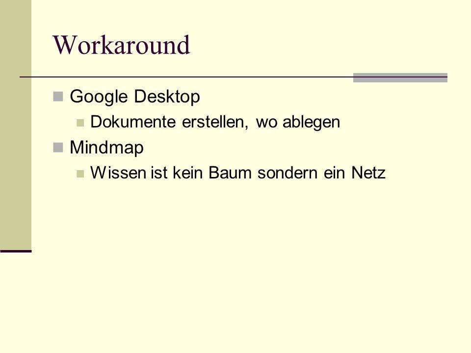 Workaround Google Desktop Dokumente erstellen, wo ablegen Mindmap Wissen ist kein Baum sondern ein Netz