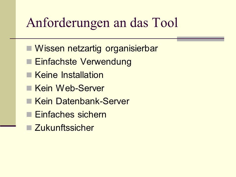 Anforderungen an das Tool Wissen netzartig organisierbar Einfachste Verwendung Keine Installation Kein Web-Server Kein Datenbank-Server Einfaches sich