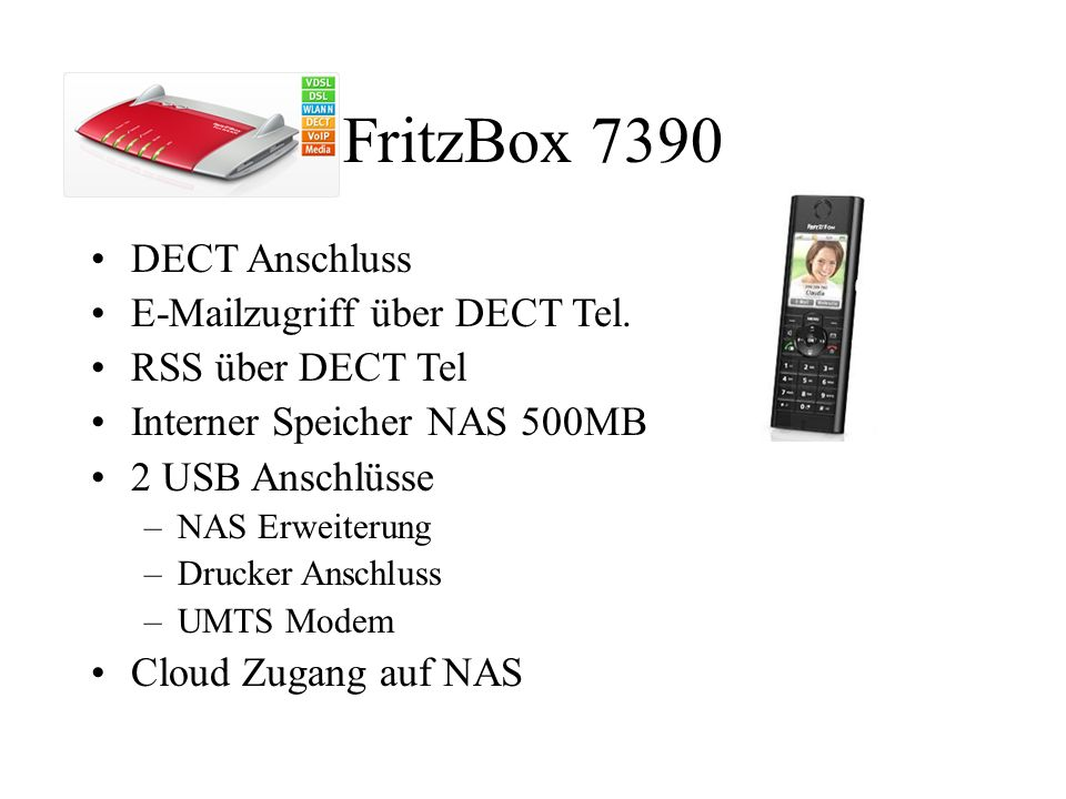 FritzBox 7390 DECT Anschluss E-Mailzugriff über DECT Tel.