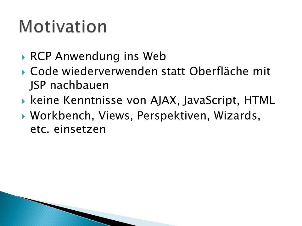 Rich Ajax Platform eine Target Platform RCP Applikationen werden mit kleinen Anpassungen webfähig