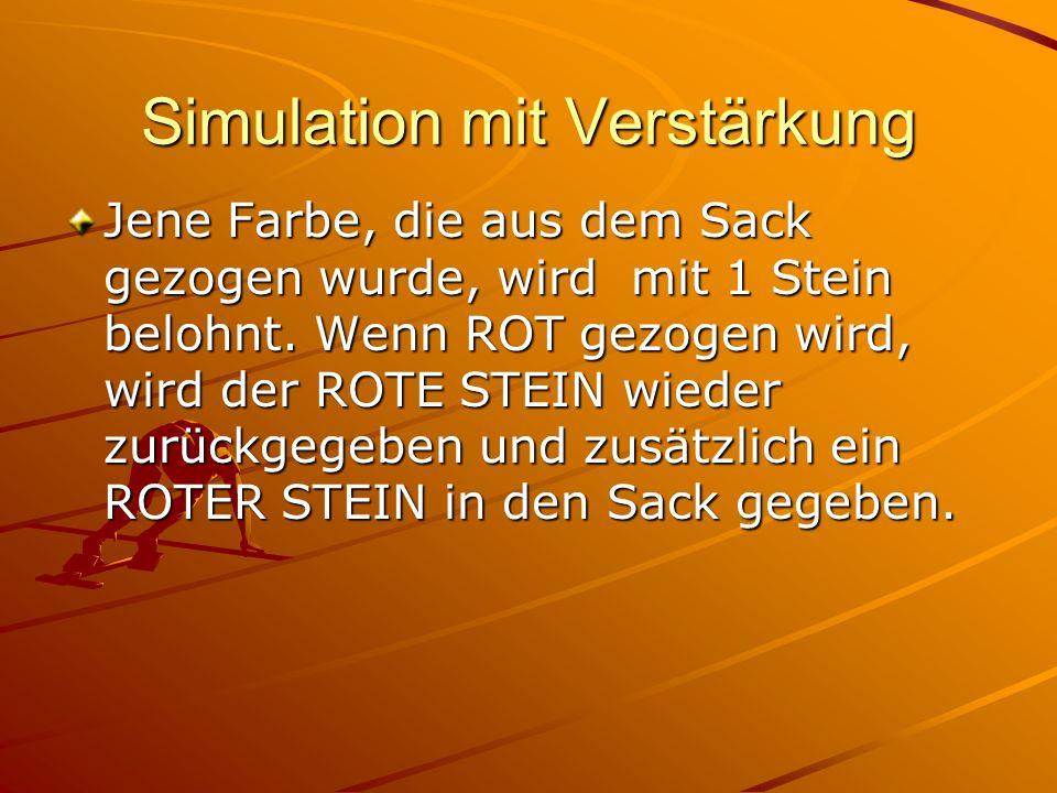 Simulation mit Verstärkung Jene Farbe, die aus dem Sack gezogen wurde, wird mit 1 Stein belohnt.