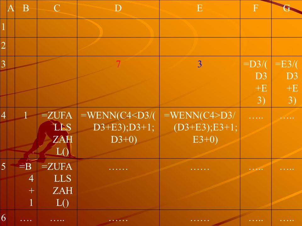 ABCDEFG 1 2 373=D3/( D3 +E 3) =E3/( D3 +E 3) 41=ZUFA LLS ZAH L() =WENN(C4<D3/( D3+E3);D3+1; D3+0) =WENN(C4>D3/ (D3+E3);E3+1; E3+0) …..