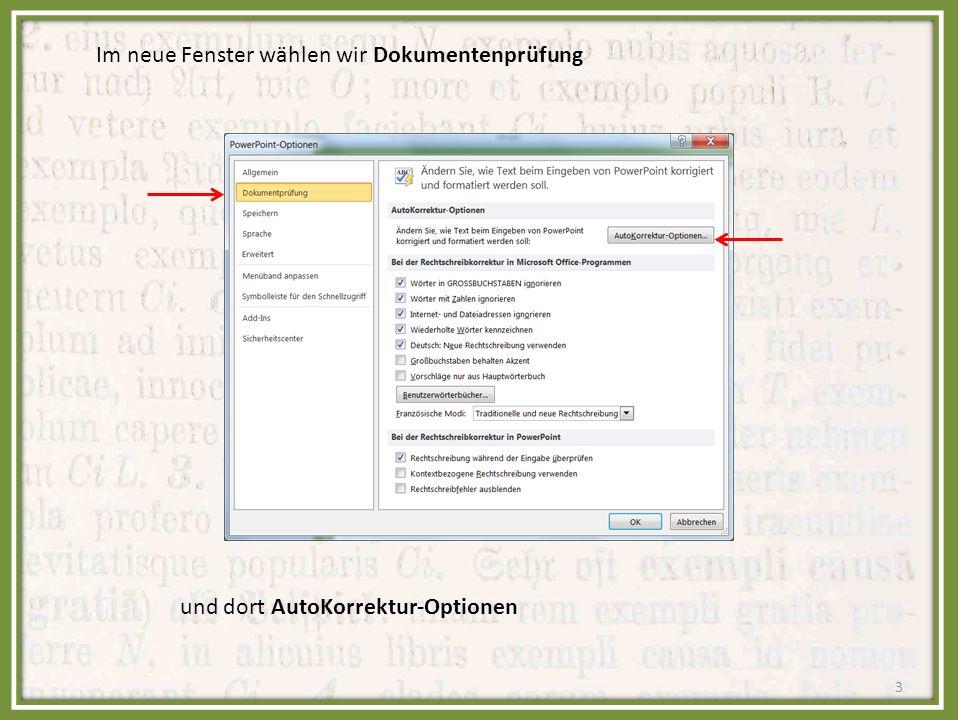 Im neue Fenster wählen wir Dokumentenprüfung und dort AutoKorrektur-Optionen 3