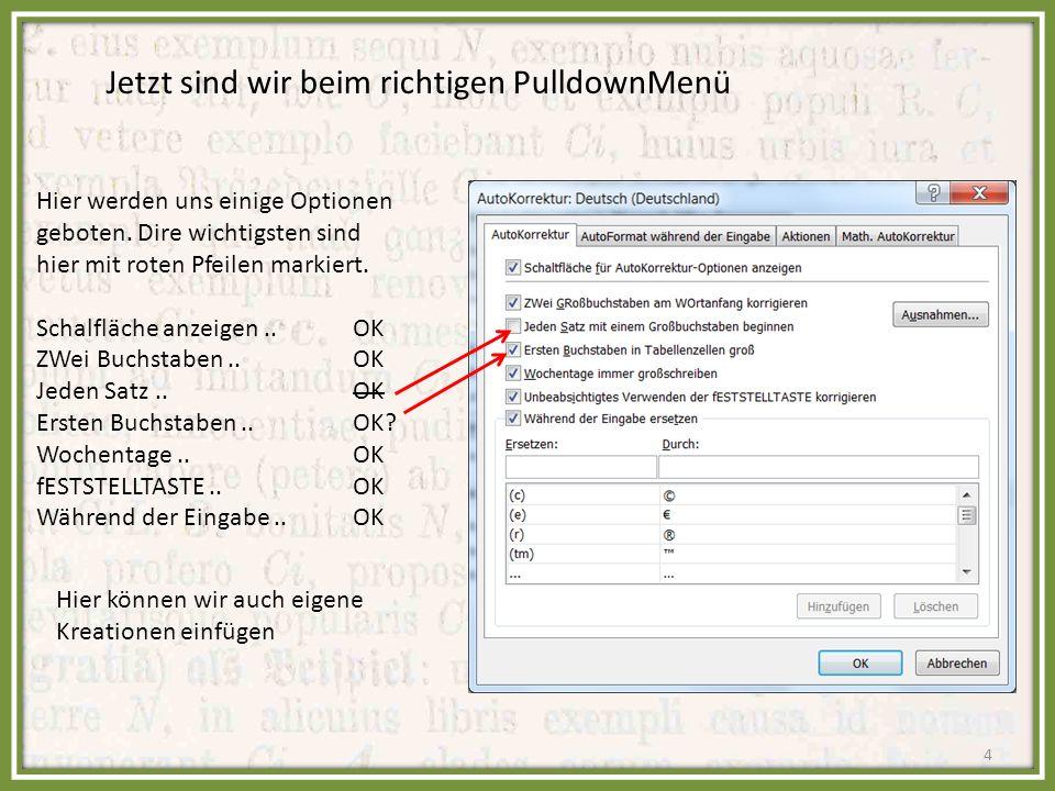 Dieses Fenster wird uns bei einer automatischen Korrektur folgendermaßen angeboten: Die Option ist wieder zurückgestellt Und so wird der erste Buchstabe in der neuen Zeile Automatisch groß geschrieben.
