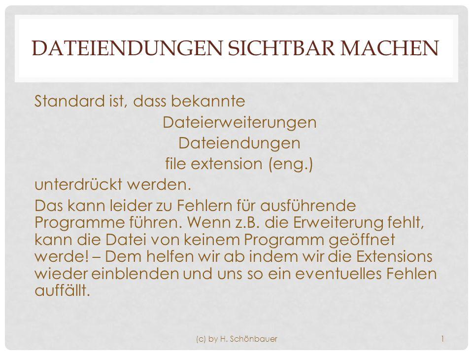 DATEIENDUNGEN SICHTBAR MACHEN Standard ist, dass bekannte Dateierweiterungen Dateiendungen file extension (eng.) unterdrückt werden.