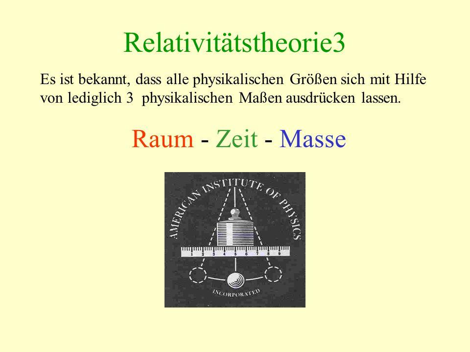 Relativitätstheorie3 Es ist bekannt, dass alle physikalischen Größen sich mit Hilfe von lediglich 3 physikalischen Maßen ausdrücken lassen. Raum - Zei