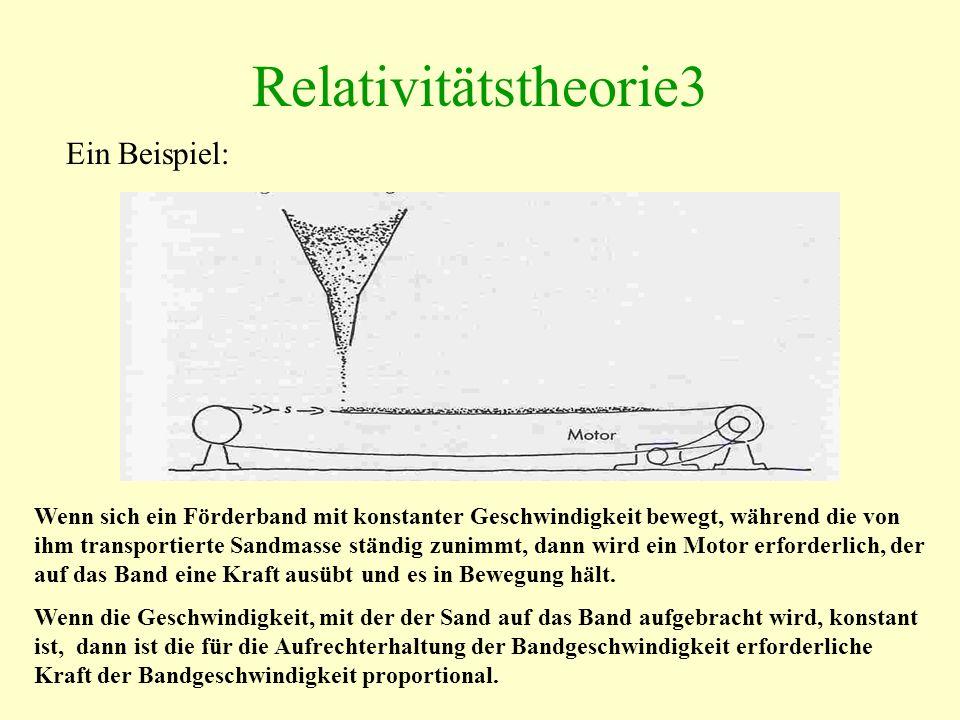 Relativitätstheorie3 Ein Beispiel: Wenn sich ein Förderband mit konstanter Geschwindigkeit bewegt, während die von ihm transportierte Sandmasse ständig zunimmt, dann wird ein Motor erforderlich, der auf das Band eine Kraft ausübt und es in Bewegung hält.
