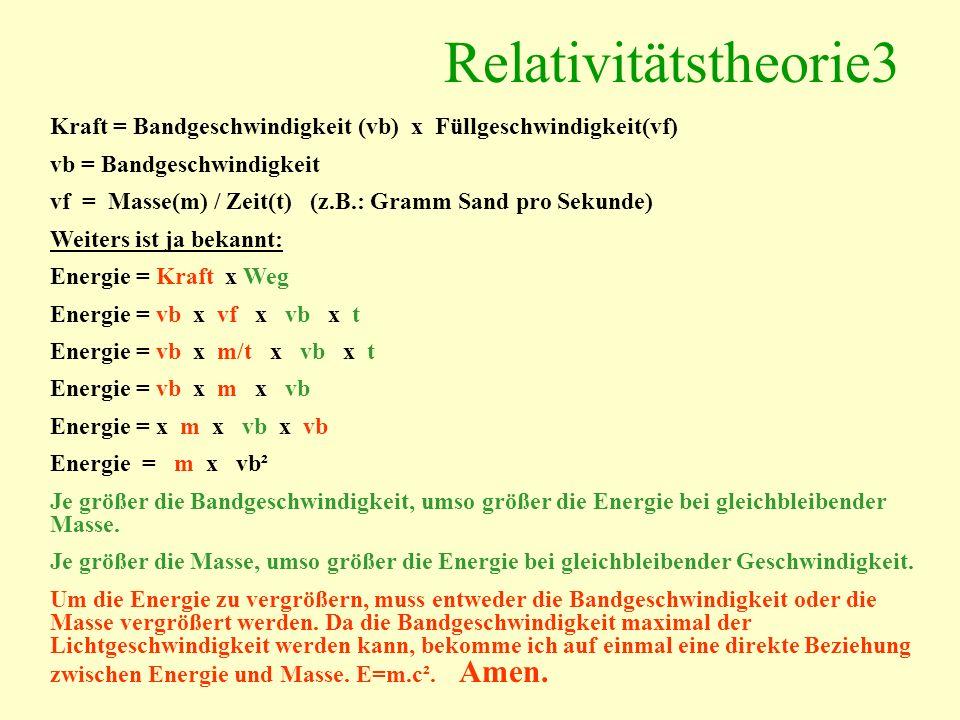 Relativitätstheorie3 Kraft = Bandgeschwindigkeit (vb) x Füllgeschwindigkeit(vf) vb = Bandgeschwindigkeit vf = Masse(m) / Zeit(t) (z.B.: Gramm Sand pro Sekunde) Weiters ist ja bekannt: Energie = Kraft x Weg Energie = vb x vf x vb x t Energie = vb x m/t x vb x t Energie = vb x m x vb Energie = x m x vb x vb Energie = m x vb² Je größer die Bandgeschwindigkeit, umso größer die Energie bei gleichbleibender Masse.