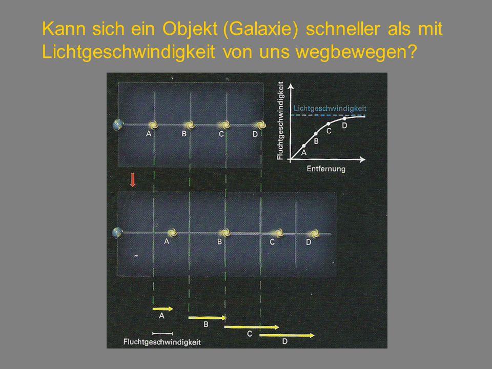 Kann sich ein Objekt (Galaxie) schneller als mit Lichtgeschwindigkeit von uns wegbewegen?