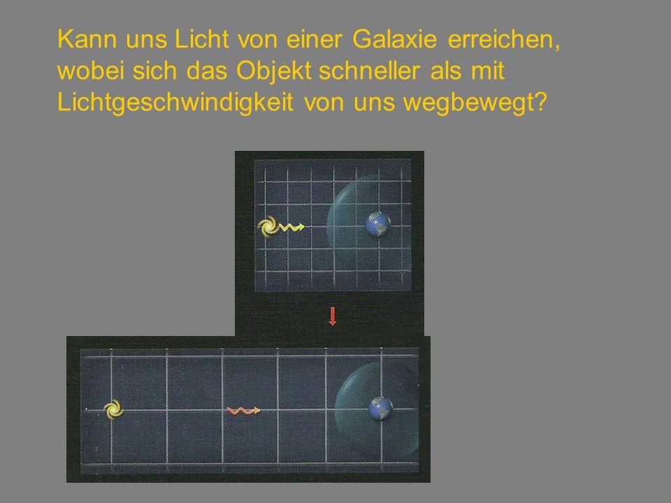 Kann uns Licht von einer Galaxie erreichen, wobei sich das Objekt schneller als mit Lichtgeschwindigkeit von uns wegbewegt?