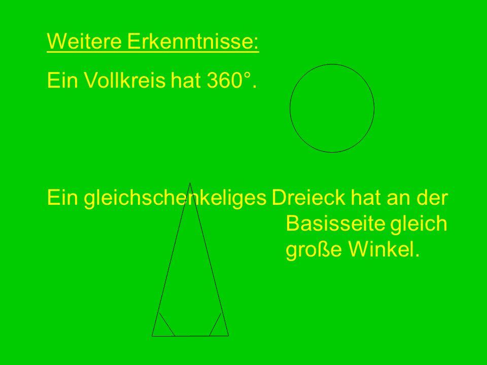 Weitere Erkenntnisse: Ein Vollkreis hat 360°. Ein gleichschenkeliges Dreieck hat an der Basisseite gleich große Winkel.