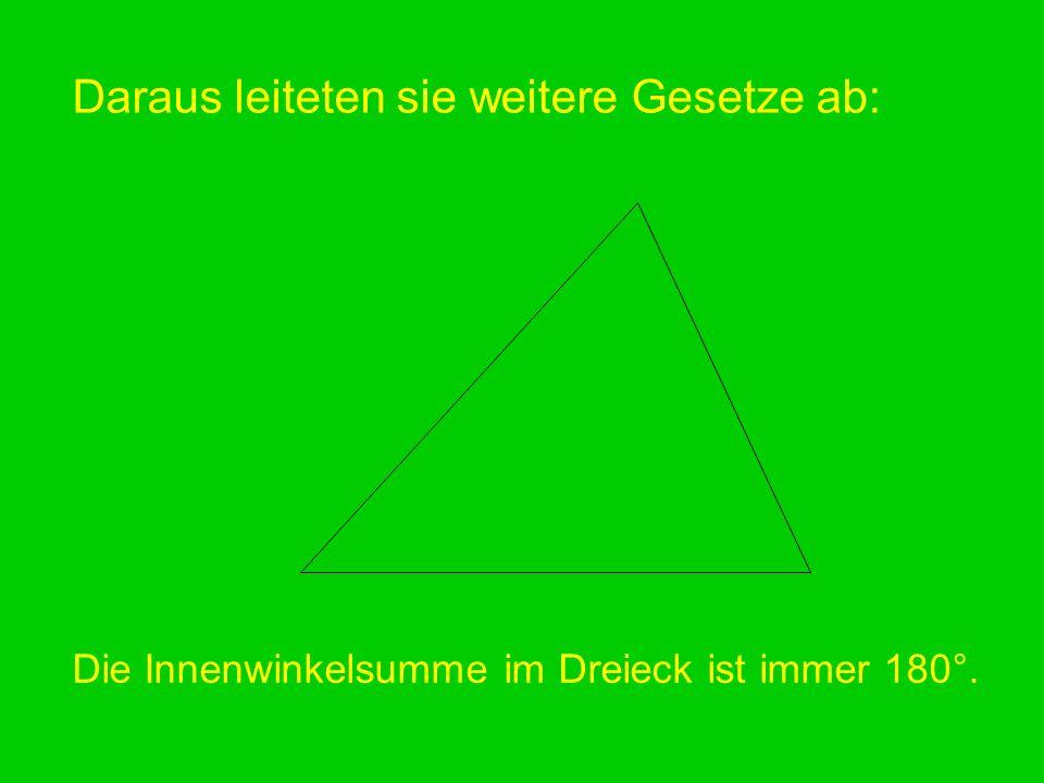Daraus leiteten sie weitere Gesetze ab: Die Innenwinkelsumme im Dreieck ist immer 180°.