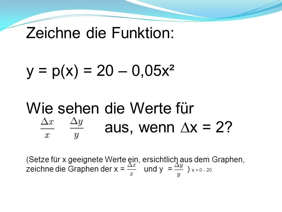 .. Zeichne die Funktion: y = p(x) = 20 – 0,05x² Wie sehen die Werte für aus, wenn x = 2? (Setze für x geeignete Werte ein, ersichtlich aus dem Graphen
