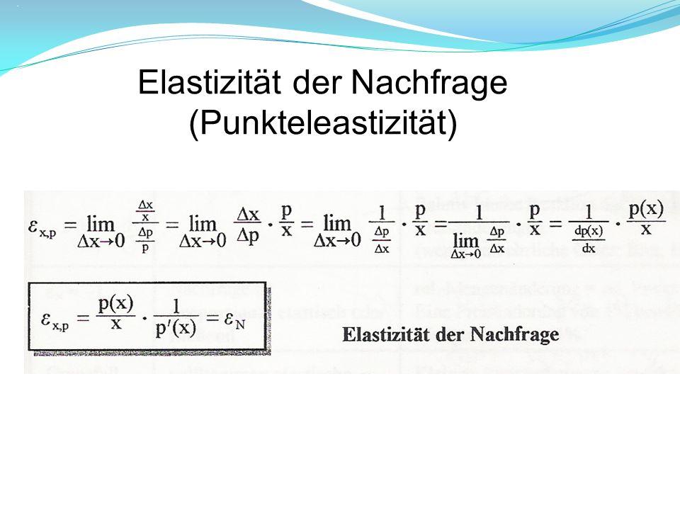 Berechne die Elastizitätsfunktion der Nachfragefunktion: p(x) = 10 - 0,1x² Untersuche den Zusammenhang: Nachfragefunktion – Erlösfunktion – Grenzerlösfunktion und Elastizität.